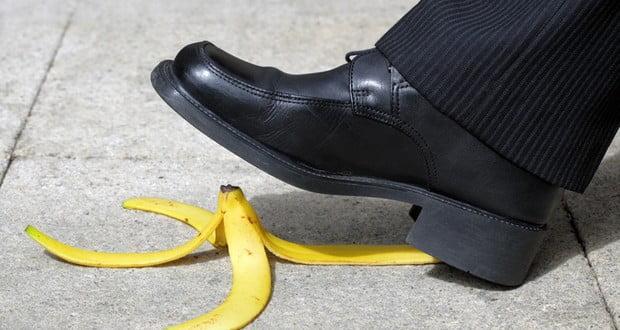 Banana peel slipperiness