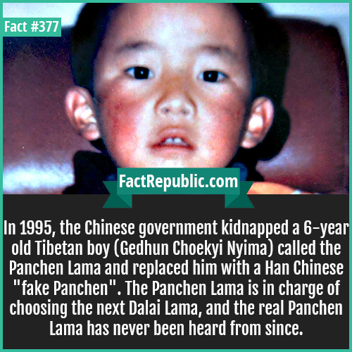 377. Gedhun Choekyi Nyima-In 1995, the Chinese government kidnapped a 6-year old Tibetan boy (Gedhun Choekyi Nyima) called the Panchen Lama and replaced him with a Han Chinese 'fake Panchen'. The Panchen Lama is in charge of choosing the next Dalai Lama, and the real Panchen Lama has never been heard from since.