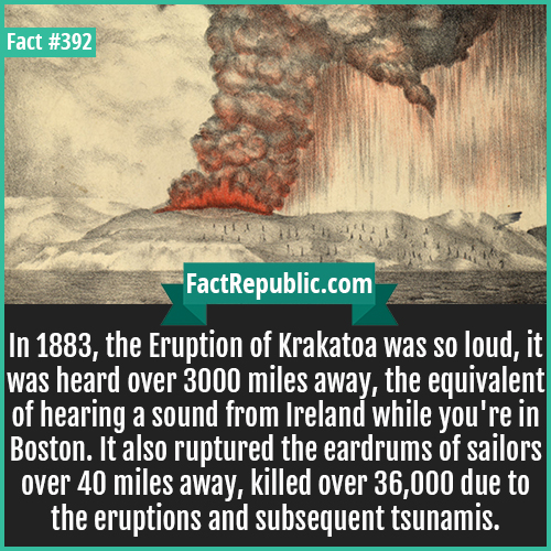 392. Krakatoa-In 1883, the Eruption of Krakatoa was so loud, it was heard over 3000 miles away, the equivalent of hearing a sound from Ireland while you're in Boston. It also ruptured the eardrums of sailors over 40 miles away, killed over 36,000 due to the eruptions and subsequent tsunamis.