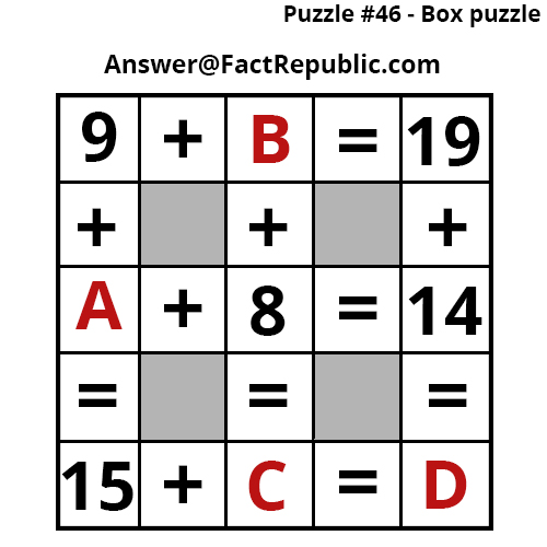 Puzzle 46-Box Puzzle.9+B=19 Puzzle Answer available here.