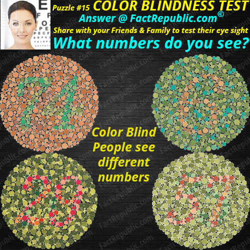 Puzzle #15 – Color Blindness Test. What numbers do you see? Colorblind people see different numbers.