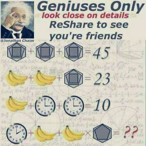 Jonathan Chaim. Geniuses Only. Look Closely on details. Reshare to see your friends. Banana Clock Shapes Puzzle
