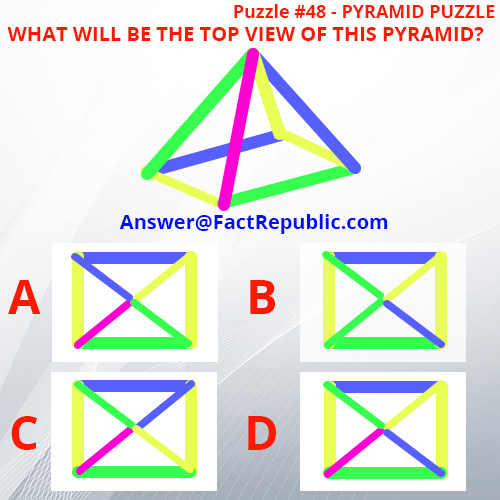 Puzzle 48 - Pyramid Puzzle, What will be the top view of this pyramid. ABCD. Answer