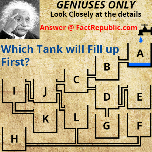 which tank will fill first Answer, 7 tank puzzle Answer, which cup will get filled first puzzle Answer, Water Tank puzzle Answers, Geniuses Only Look Closely at the Details, Answer @ FactRepublic.com, Which Tank Will Fill Up First, 12 Tank Puzzle Answer,