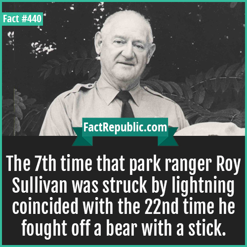 440-Roy sullivan-The 7th time that park ranger Roy Sullivan was struck by lightning coincided with the 22nd time he fought off a bear with a stick.
