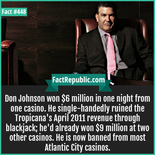 448. Don Johnson-Don Johnson won $6 million in one night from one casino. He single-handedly ruined the Tropicana's April 2011 revenue through blackjack; he'd already won $9 million at two other casinos. He is now banned from most Atlantic City casinos.