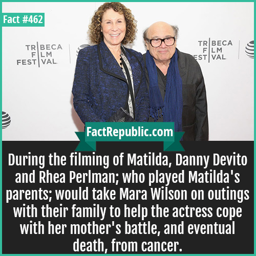 462. Danny Devito and Rhea Perlman-During the filming of Matilda, Danny Devito and Rhea Perlman; who played Matilda's parents; would take Mara Wilson on outings with their family to help the actress cope with her mother's battle, and eventual death, from cancer.