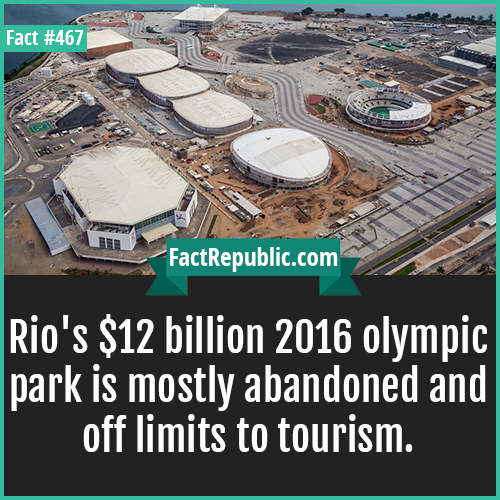 467. Olympic Park-Rio's $12 billion 2016 olympic park is mostly abandoned and off limits to tourism.