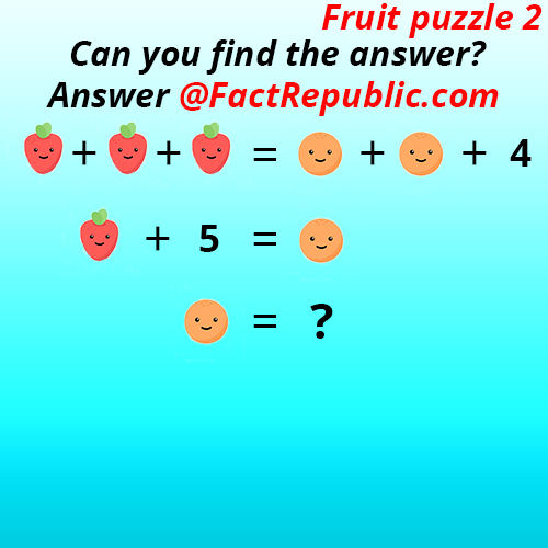 Fruit Puzzle 2. Can you find the answer?