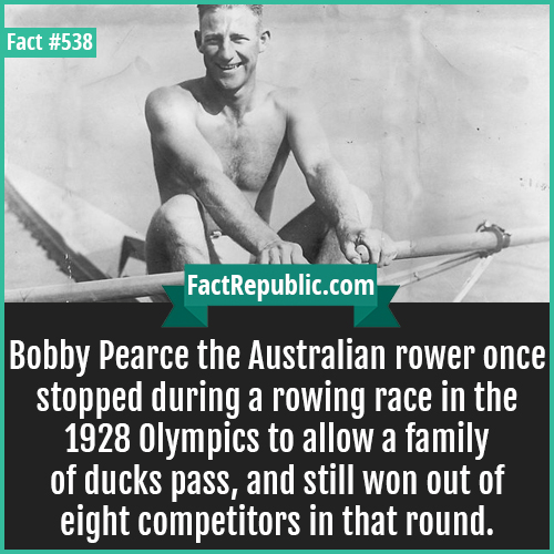 538. Bobby pearce-Bobby Pearce the Australian rower once stopped during a rowing race in the 1928 Olympics to allow a family of ducks pass, and still won out of eight competitors in that round.