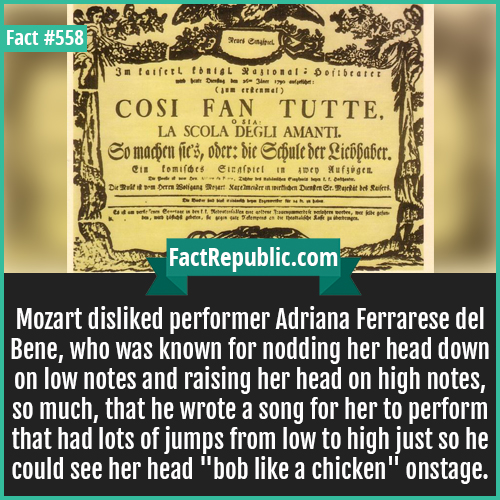 558-Mozart-Mozart disliked performer Adriana Ferrarese del Bene, who was known for nodding her head down on low notes and raising her head on high notes, so much, that he wrote a song for her to perform that had lots of jumps from low to high just so he could see her head