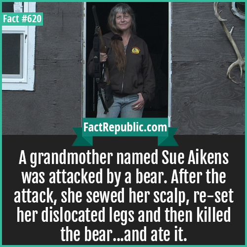 620. Sue Aikens-A grandmother named Sue Aikens was attacked by a bear. After the attack, she sewed her scalp, re-set her dislocated legs and then killed the bear...and ate it.