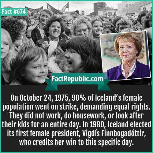 674. Iceland's female Strike Vigdis-On October 24, 1975, 90% of Iceland's female population went on strike, demanding equal rights. They did not work, do housework, or look after their kids for an entire day. In 1980, Iceland elected its first female president, Vigdís Finnbogadóttir, who credits her win to this specific day.