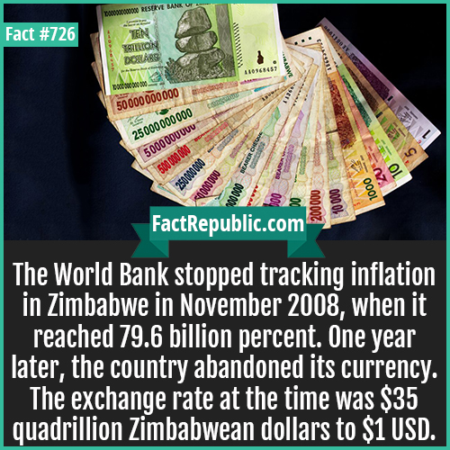 726. Zimbabwe Hyperinflation-The World Bank stopped tracking inflation in Zimbabwe in November 2008, when it reached 79.6 billion percent. One year later, the country abandoned its currency. The exchange rate at the time was $35 quadrillion Zimbabwean dollars to $1 USD.