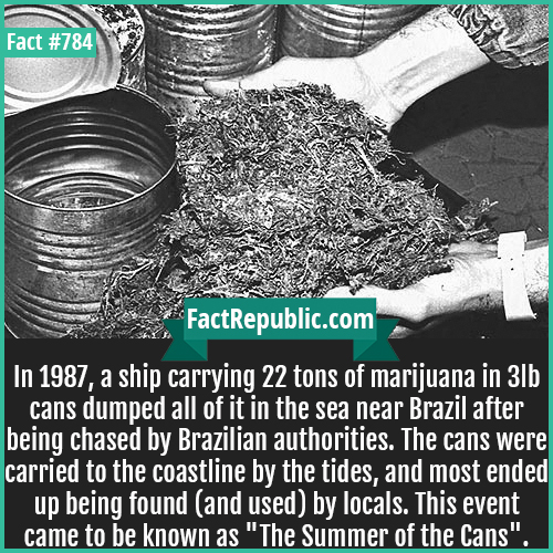 784. Summer of the cans-In 1987, a ship carrying 22 tons of marijuana in 3lb cans dumped all of it in the sea near Brazil after being chased by Brazilian authorities. The cans were carried to the coastline by the tides, and most ended up being found (and used) by locals. This event came to be known as