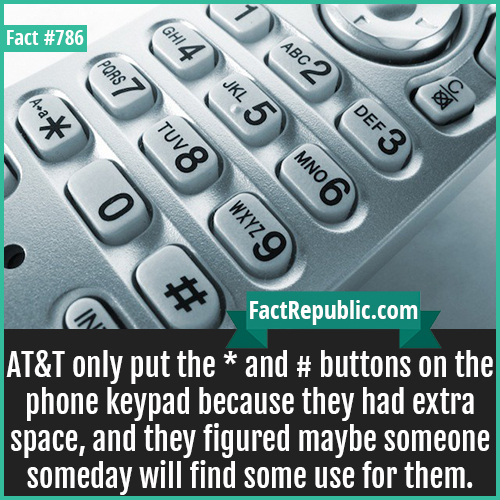 786. AT&T Kepad-AT&T only put the * and # buttons on the phone keypad because they had extra space, and they figured maybe someone someday will find some use for them.