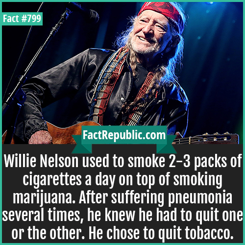 799. Willie Nelson-Willie Nelson used to smoke 2-3 packs of cigarettes a day on top of smoking marijuana. After suffering pneumonia several times, he knew he had to quit one or the other. He chose to quit tobacco.
