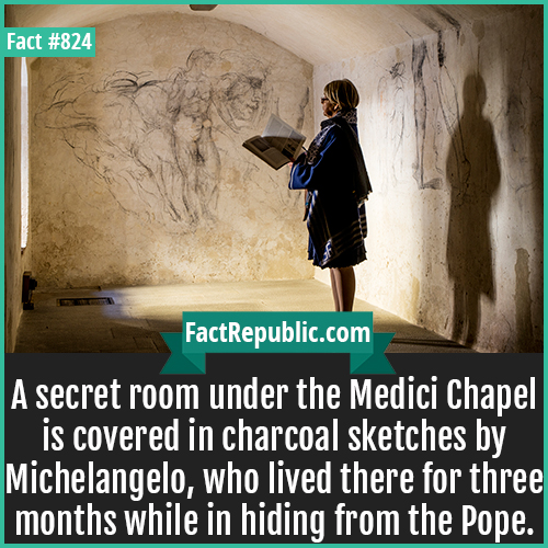 824. Medici Chapel Michelangelo Secret-A secret room under the Medici Chapel is covered in charcoal sketches by Michelangelo, who lived there for three months while in hiding from the Pope.