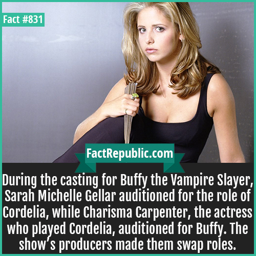 831. Sarah Michelle Gellar-During the casting for Buffy the Vampire Slayer, Sarah Michelle Gellar auditioned for the role of Cordelia, while Charisma Carpenter, the actress who played Cordelia, auditioned for Buffy. The show's producers made them swap roles.