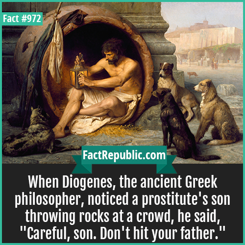 972. Diogenes-When Diogenes, the ancient Greek philosopher, noticed a prostitute's son throwing rocks at a crowd, he said,