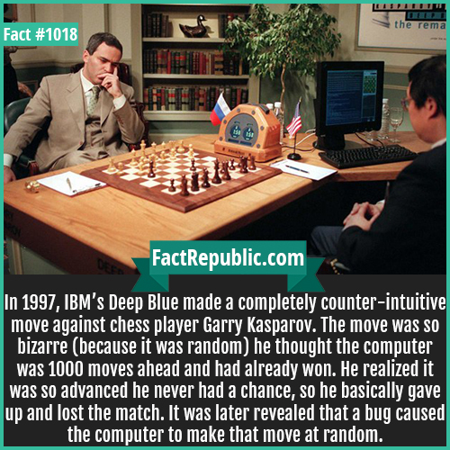 1018. Deep Blue vs Kasparov-In 1997, IBM's Deep Blue made a completely counter-intuitive move against chess player Garry Kasparov. The move was so bizarre (because it was random) he thought the computer was 1000 moves ahead and had already won. He realized it was so advanced he never had a chance, so he basically gave up and lost the match. It was later revealed that a bug caused the computer to make that move at random.