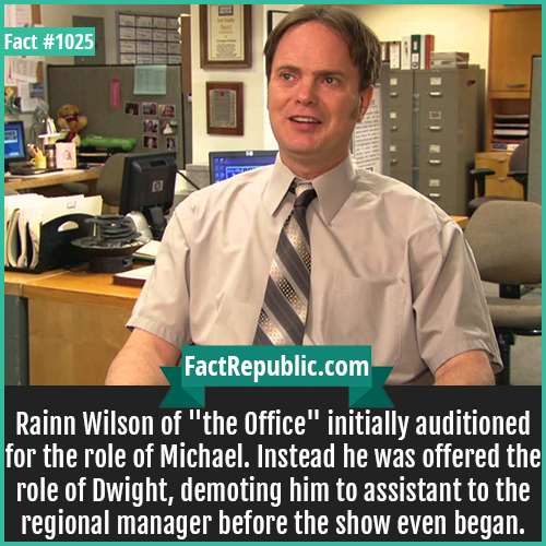 1025. Rainn Wilson-Rainn Wilson of 'the Office' initially auditioned for the role of Michael. Instead he was offered the role of Dwight, demoting him to assistant to the regional manager before the show even began.