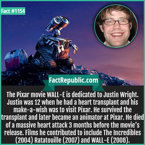 1154. Justin Wright Wall-E-The Pixar movie WALL-E is dedicated to Justin Wright. Justin was 12 when he had a heart transplant and his make-a-wish was to visit Pixar. He survived the transplant and later became an animator at Pixar. He died of a massive heart attack 3 months before the movie's release. Films he contributed to include The Incredibles (2004) Ratatouille (2007) and WALL-E (2008).
