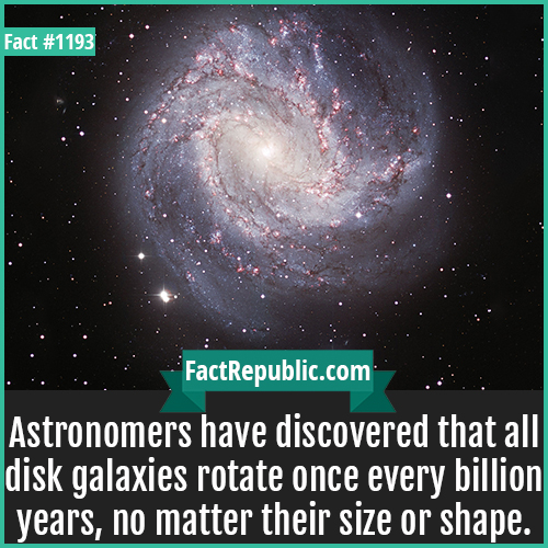 1193. Disk Galaxies-Astronomers have discovered that all disk galaxies rotate once every billion years, no matter their size or shape.