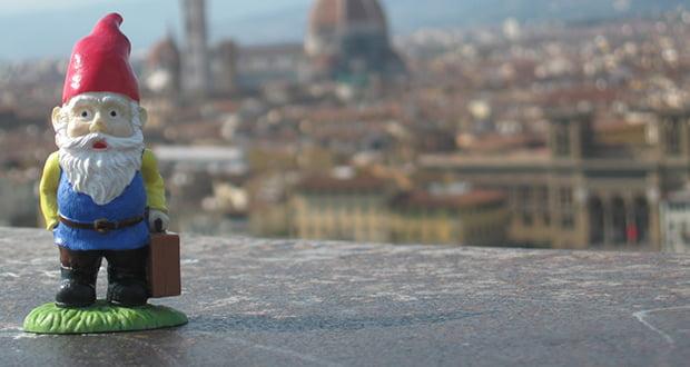 Travelling gnome prank