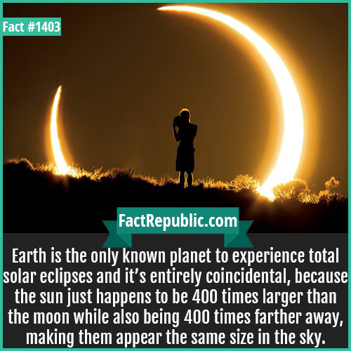 1403. Moon Size-Earth is the only known planet to experience total solar eclipses and it's entirely coincidental because the sun just happens to be 400 times larger than the moon while also being 400 times farther away, making them appear the same size in the sky.