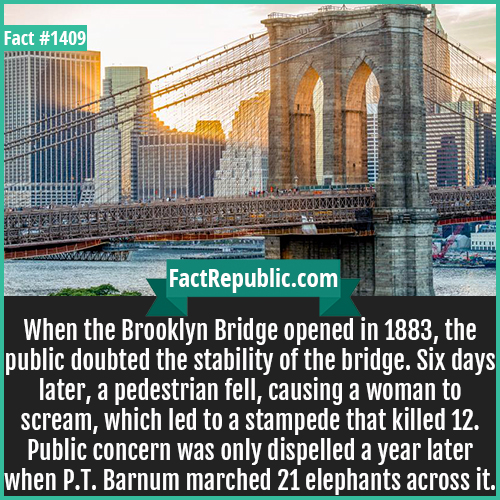 1409. Brooklyn Bridge-When the Brooklyn Bridge opened in 1883, the public doubted the stability of the bridge. Six days later, a pedestrian fell, causing a woman to scream, which led to a stampede that killed 12. Public concern was only dispelled a year later when P.T. Barnum marched 21 elephants across it.