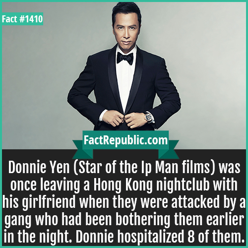 1410. Donnie Yen-Donnie Yen (Star of the Ip Man films) was once leaving a Hong Kong nightclub with his girlfriend when they were attacked by a gang who had been bothering them earlier in the night. Donnie hospitalized 8 of them.