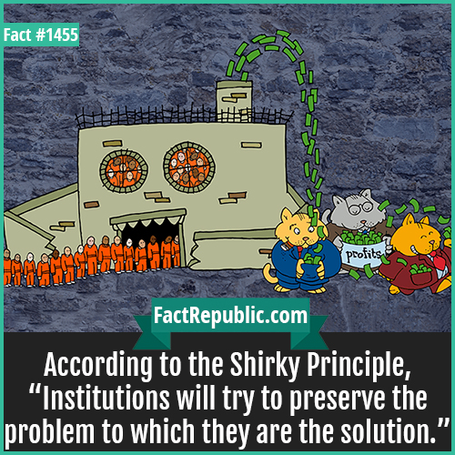 "1455. Shirky Principle-According to the Shirky Principle, ""Institutions will try to preserve the problem to which they are the solution."""