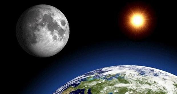 Moon, sun and earth