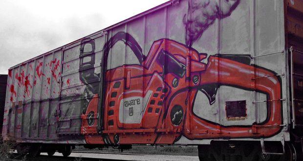Graffiti over Rail Cars