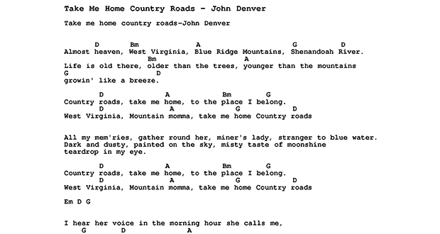 Take Me Home, Country Road