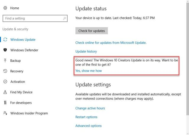 windows-10-udpate status