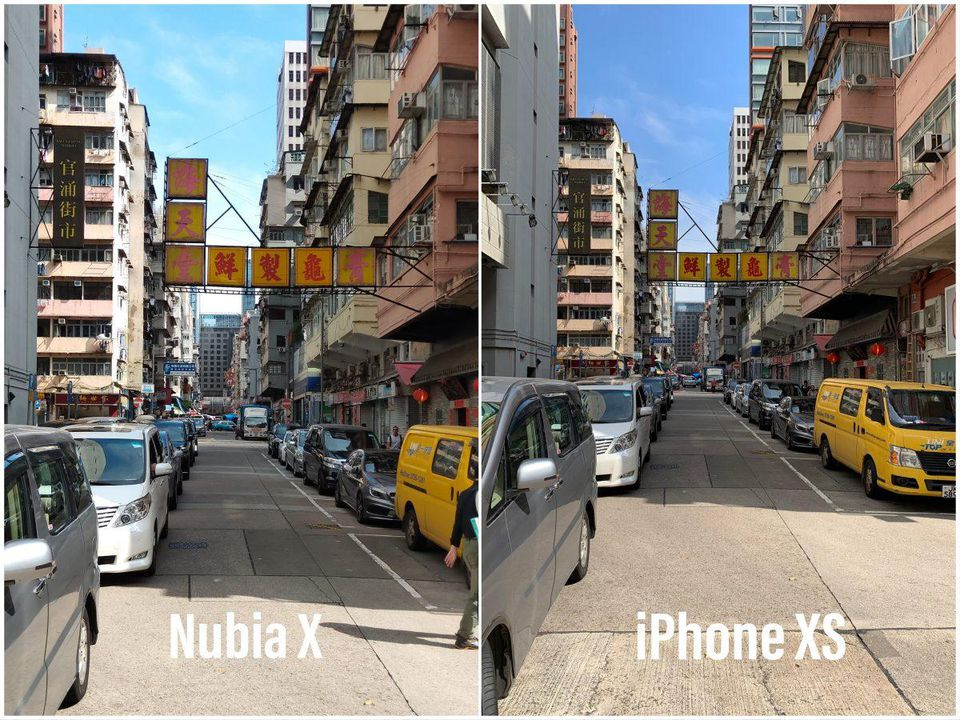Difference between a Nubia X and iPhone XS shot