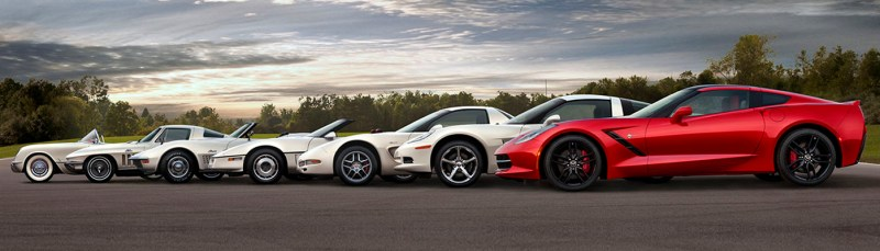 Seven generations of the Chevrolet Corvette.  Each generation of the Corvette has been defined by all-new or significantly revised design, architecture and technology features – including powertrain and chassis/suspension technologies – that have helped the car maintain its position as the best-selling premium sports car in America.