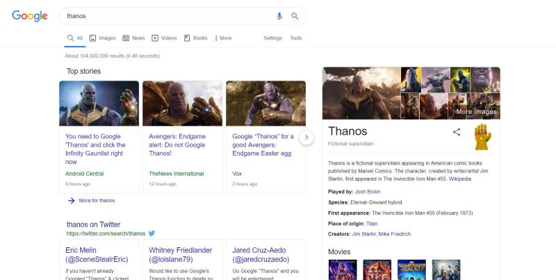 Thanos search result Google easter egg