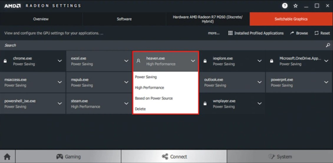 Paramètres du GPU AMD Radeon