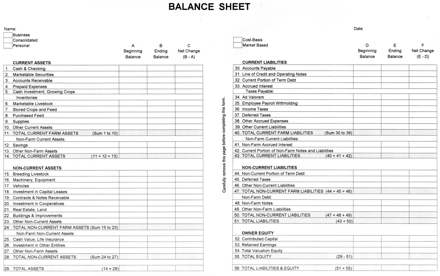 Balance Sheet Owner S Equity