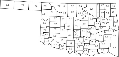 small resolution of median values of soil ph for 77 counties in oklahoma median values are the midpoint of a data set meaning that 50 percent of samples were less than this