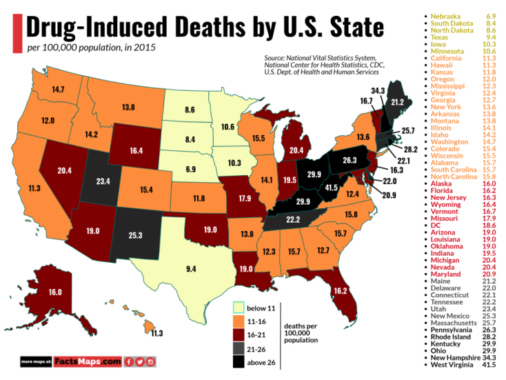 Drug-Induced Deaths by U.S. State