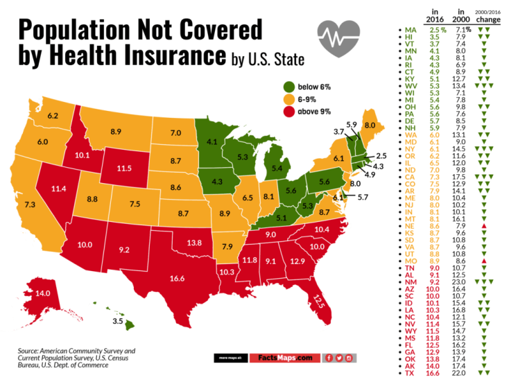 Population Not Covered by Health Insurance by U.S. State