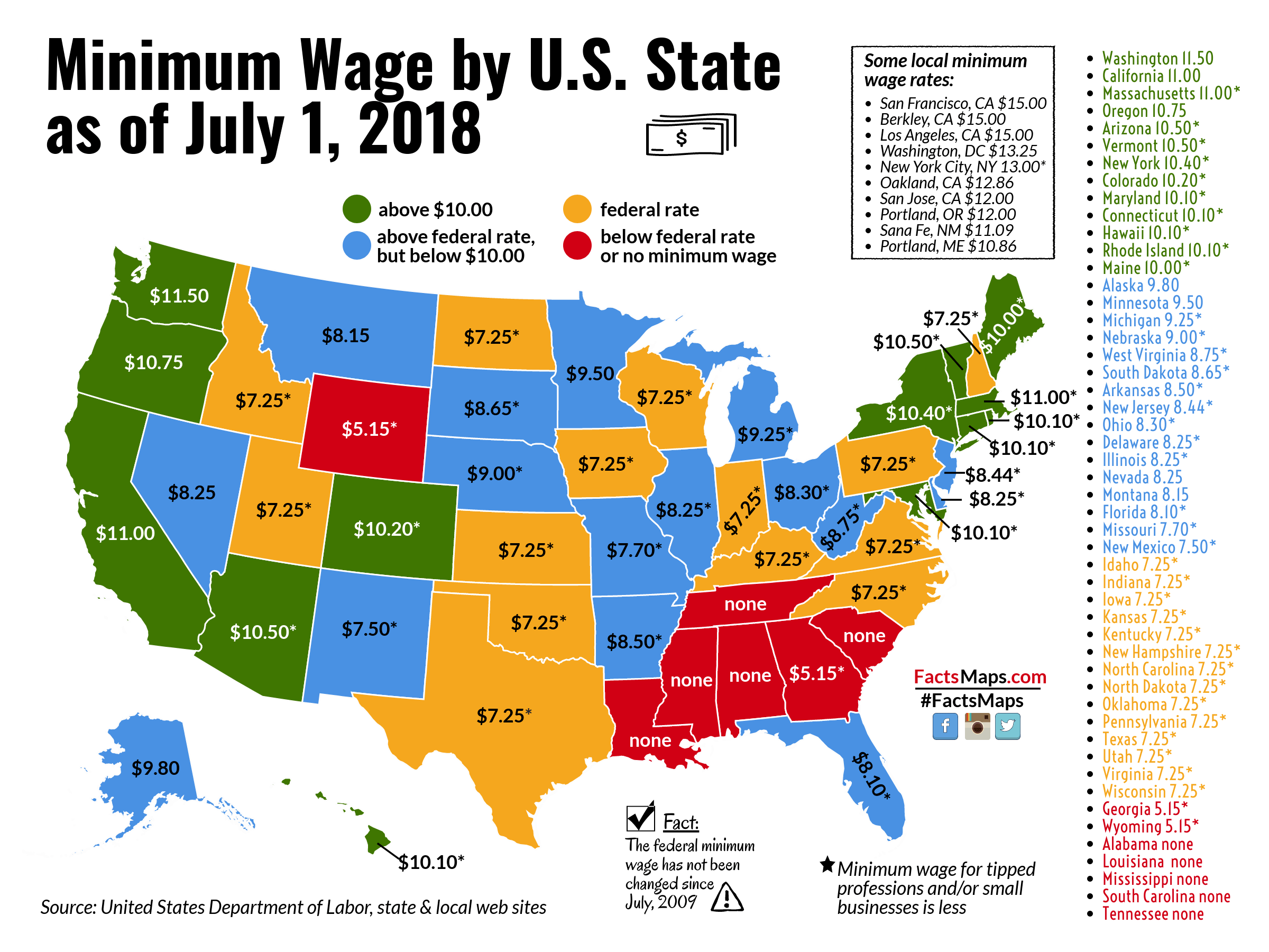 Minimum Wage by U.S. State as of July 1, 2018   FactsMaps