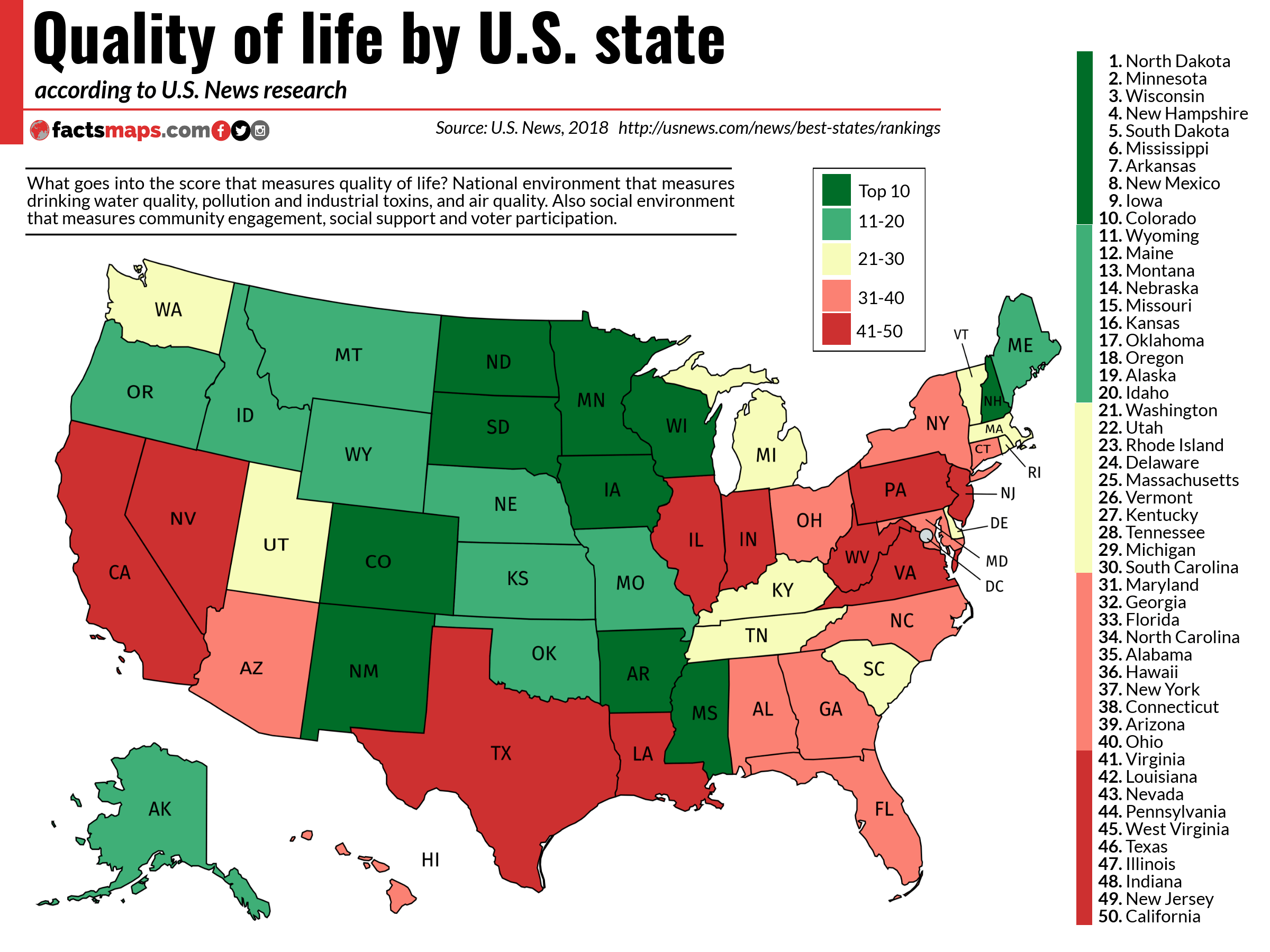 Quality of life by U.S. state - FactsMaps