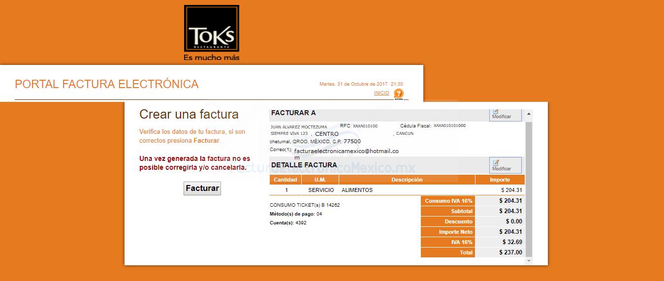 facturacion de toks