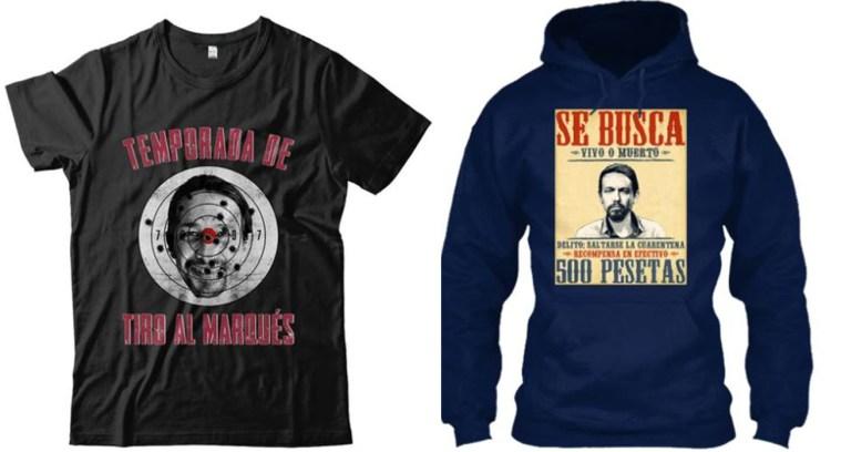 Camisetas que se vendían en la web de Esto Es España. Autor y fuente: Esto Es España /  FACUA