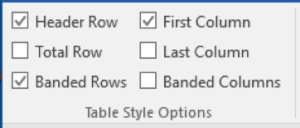 Microsoft Word Tables